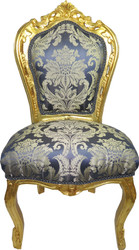 Casa Padrino Baroque Dining Chair Blue Pattern / Gold - Antique Furniture