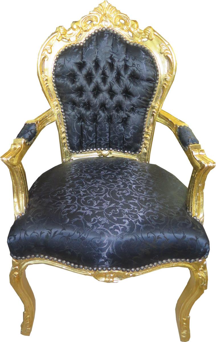 Casa Padrino Barock Esszimmer Stuhl Schwarz Ton In Ton Muster Gold