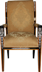 Casa Padrino Baroque Luxury Empire Dining Chair with Armrests Mahogany / Gold / Black / Silver - Limited Edition
