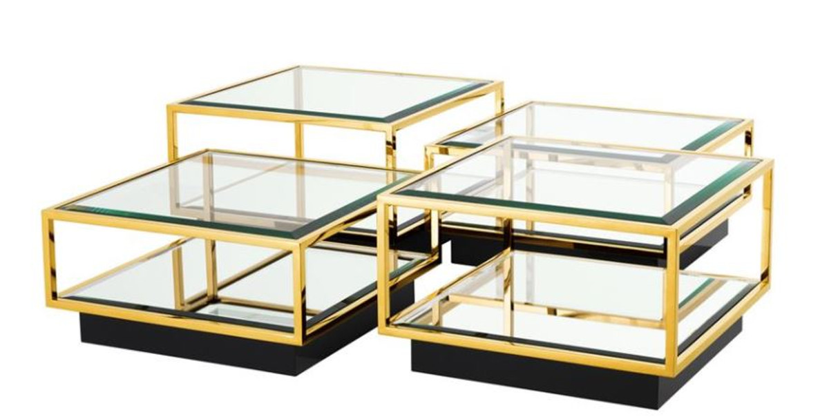 Casa padrino art deco luxus couchtisch gold 4er set for Couchtisch gold
