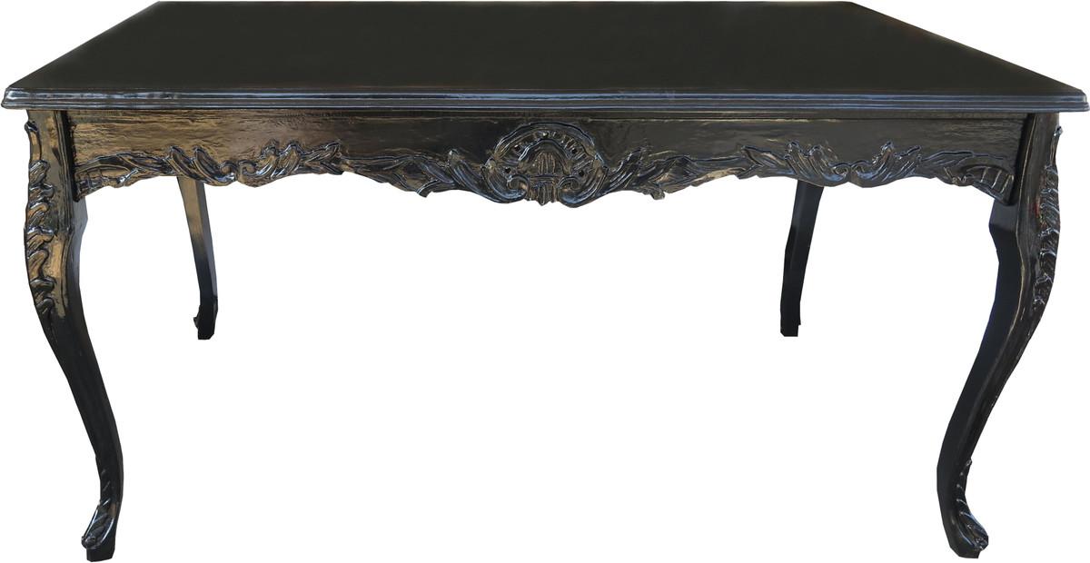 Casa Padrino Barock Esstisch Schwarz Mit Glasplatte 200 X 100 Cm    Esszimmer Tisch   Limited