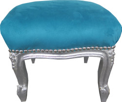 Casa Padrino Baroque footstool Sky Blue / Silver - Antique furniture - Stool