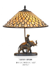 Handmade tiffany figure lamp decorative lamp height 50 cm, diameter 41 cm - light bulb - Statuette - Elephant