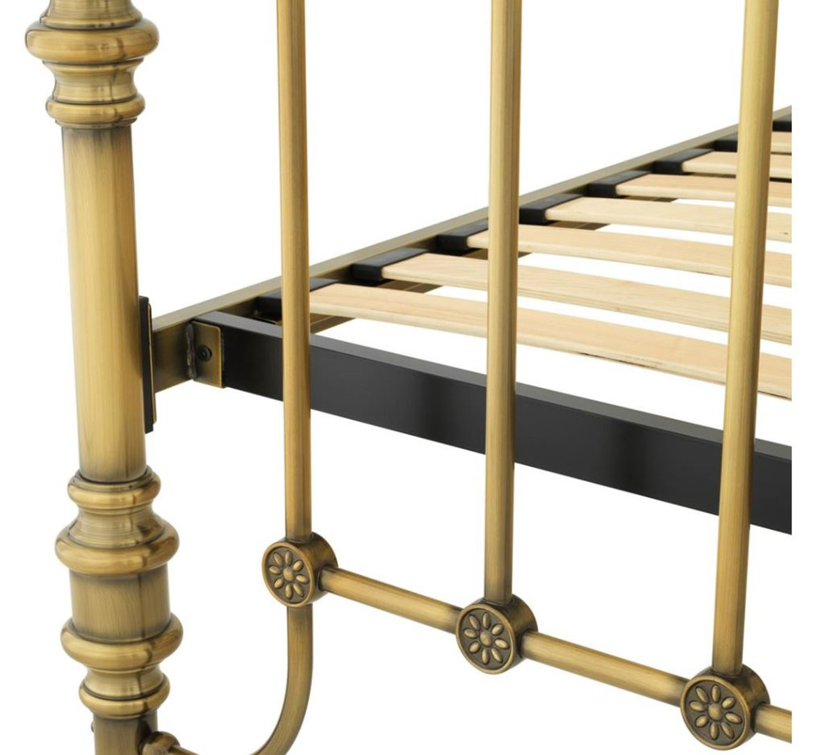 Casa Padrino Luxus Bett Antik Messing 187 x 225,5 x H. 152,5 cm - Designer Möbel 3