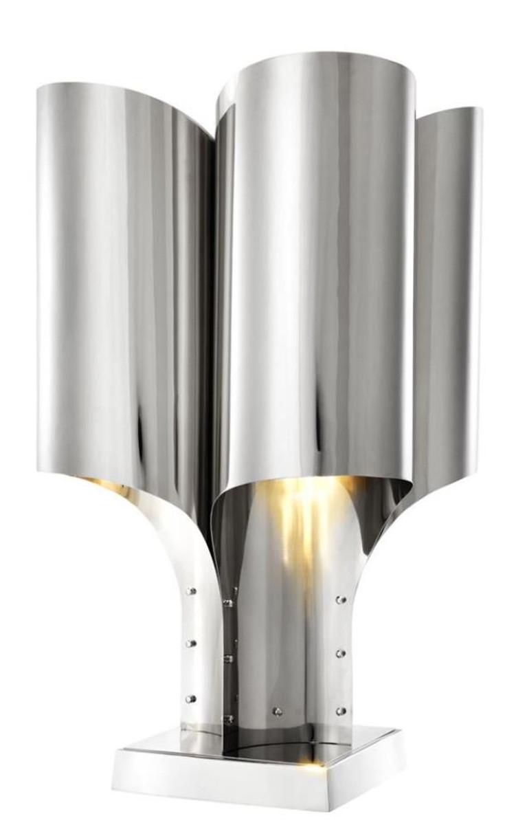 Casa Padrino Tischleuchte Silber 46 x 46 x H. 82,5 cm - Luxus Tischlampe 1