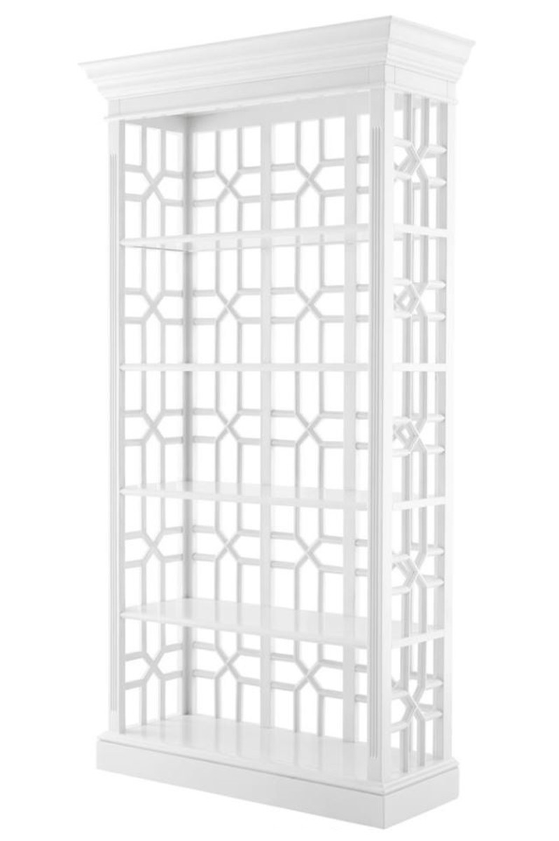 Casa Padrino Designer Mahagoni Regalschrank Piano Weiß - Luxus Qualität 1