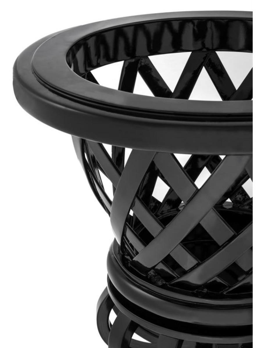 Casa Padrino Designer Mahagoni Übertopf Piano Schwarz - Luxus Blumentopf mit Sockel 4