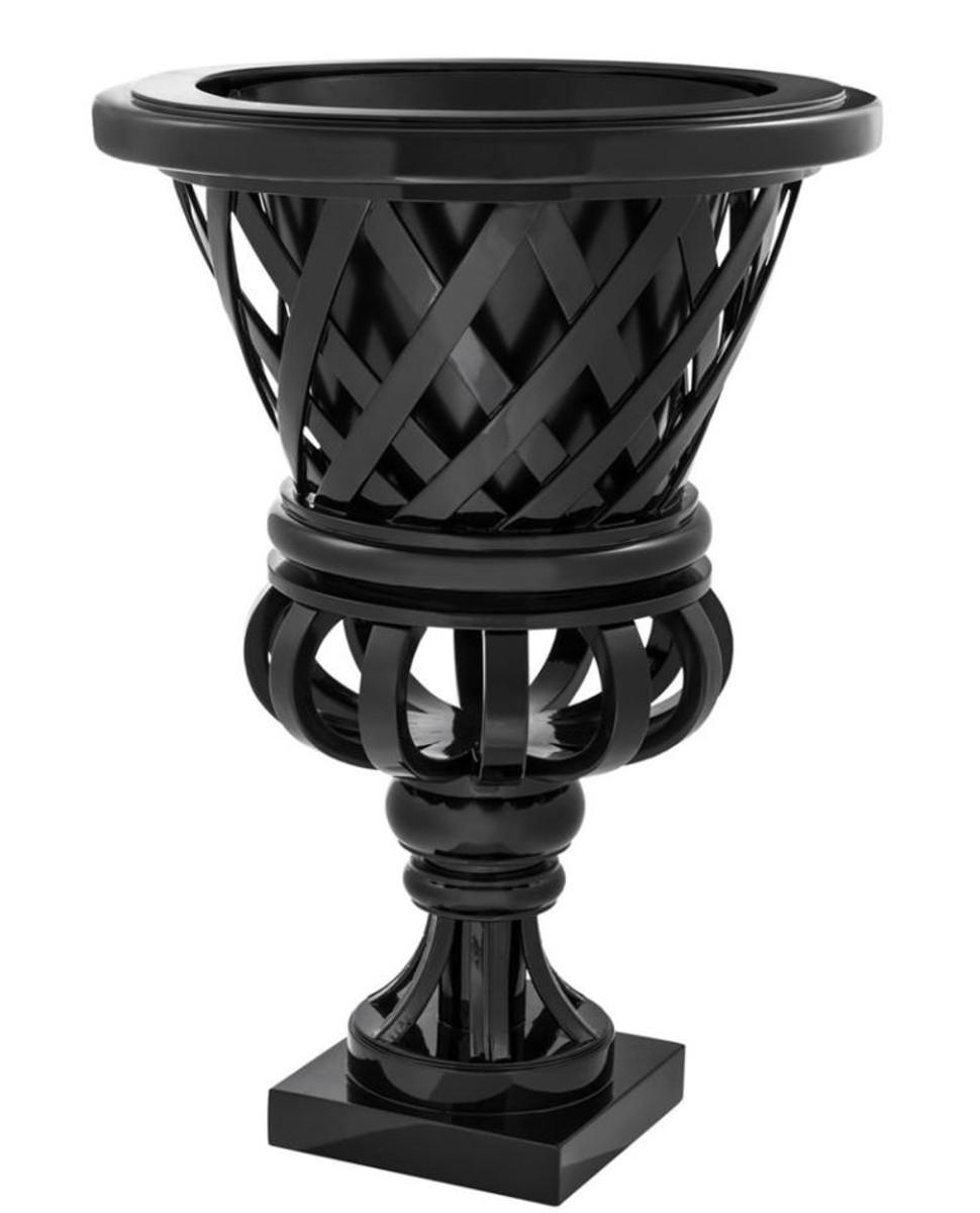 Casa Padrino Designer Mahagoni Übertopf Piano Schwarz - Luxus Blumentopf mit Sockel 1