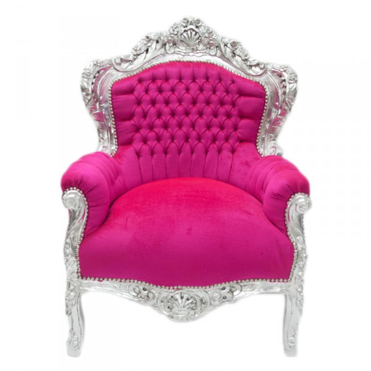 Casa Padrino Barock Sessel King Pink Silber Mobel Antik Stil