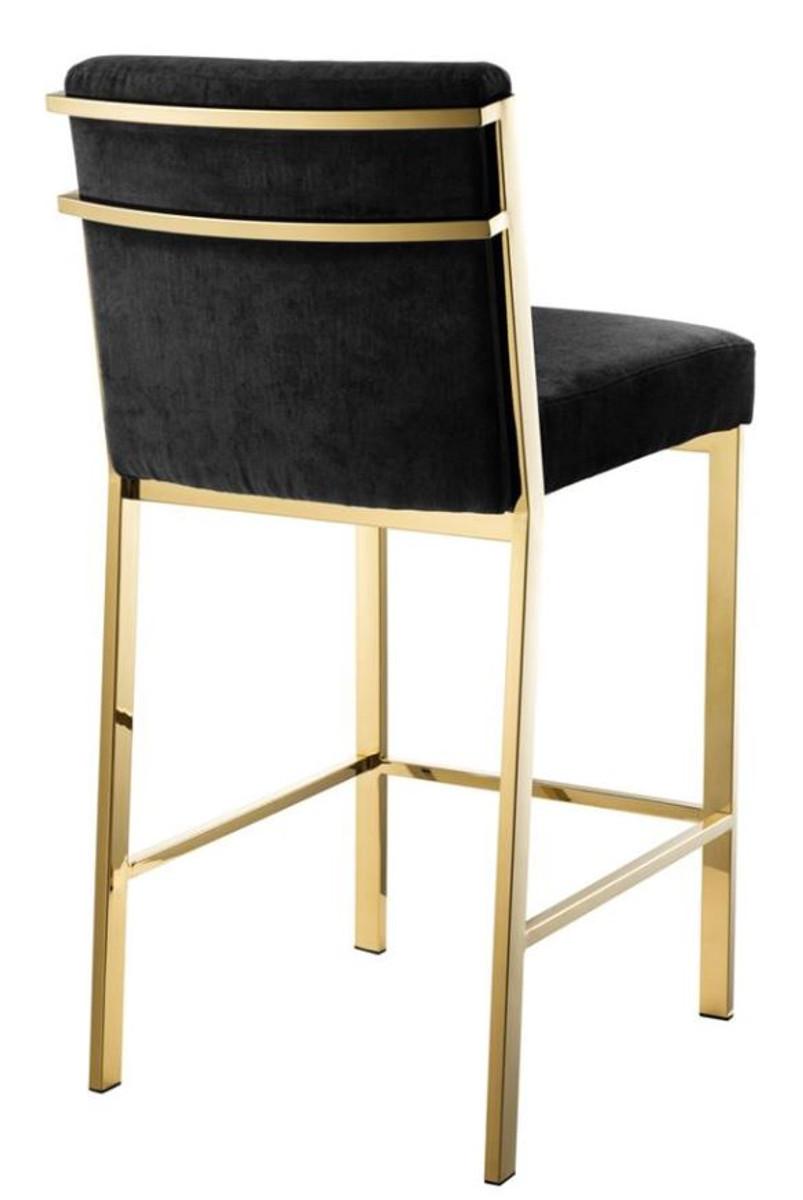 Casa Padrino Luxury Bar Stool Black Gold 43 X 54 X H 91 Cm Designer Stainless Steel Bar Stool With Velvet Fabric Bar Furniture