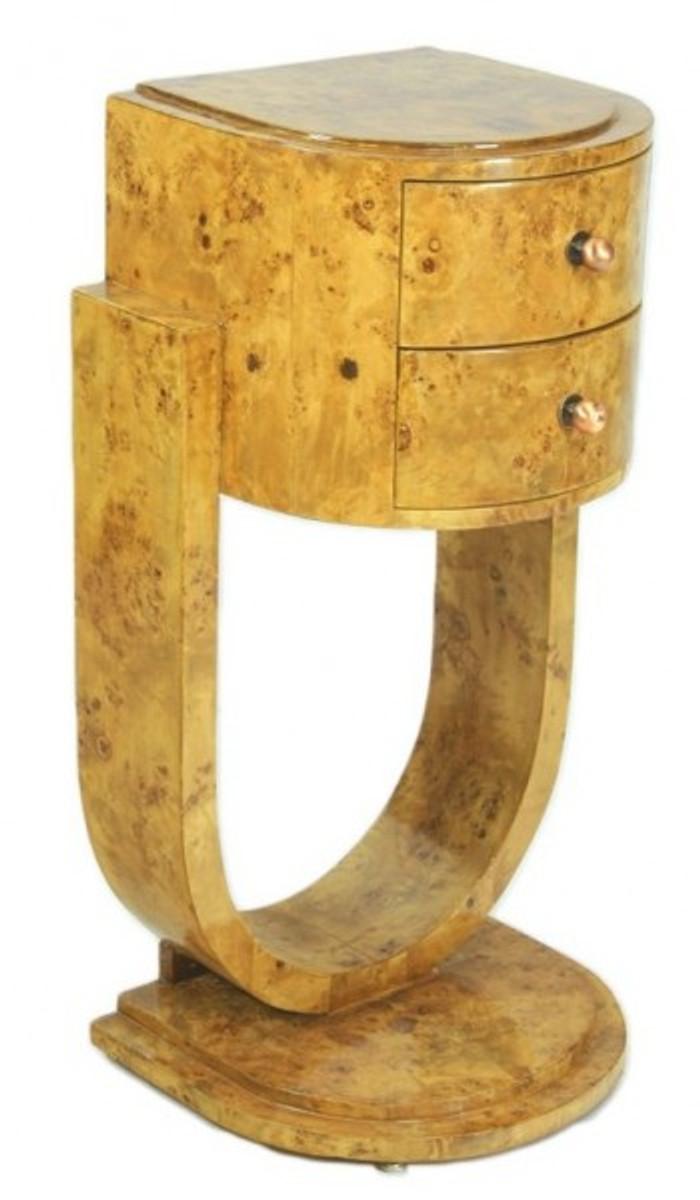 Casa Padrino Art Deco Schubladen Schrank Vogelaugenahorn - Handgefertigt aus Massivholz - Kommode Nachtschrank Nachttisch B! 2