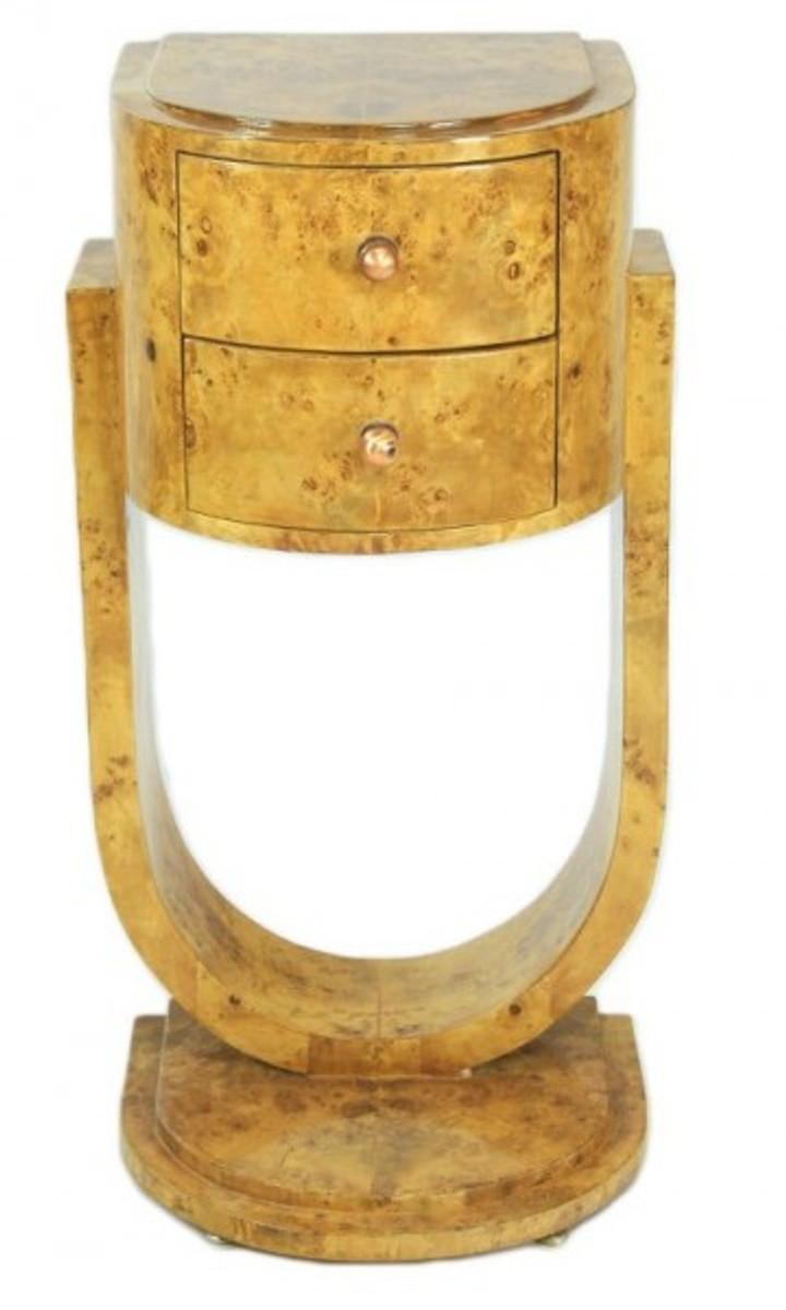 Casa Padrino Art Deco Schubladen Schrank Vogelaugenahorn - Handgefertigt aus Massivholz - Kommode Nachtschrank Nachttisch B! 1