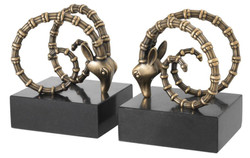 Casa Padrino designer bookend set of 2 antique brass black - luxury hotel decorations