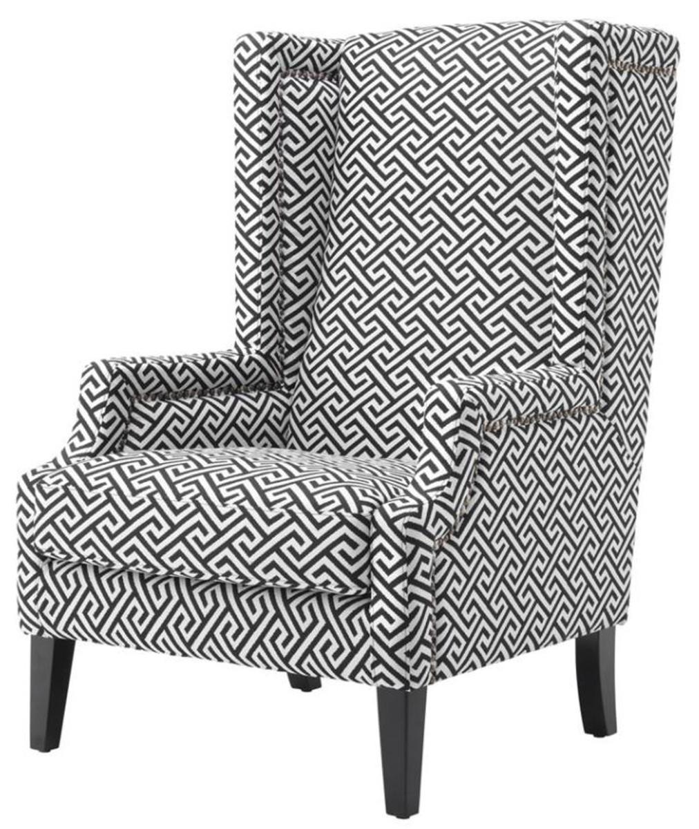 Ohrensessel Schwarz casa padrino designer sessel schwarz weiß luxus ohrensessel