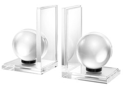 Casa Padrino designer crystal glass bookend set of 2 - luxury collection