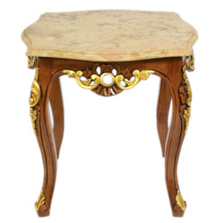 Casa Padrino Baroque coffee table Mahogany with cream colored marble plate 55 x 55 cm x H 55 cm