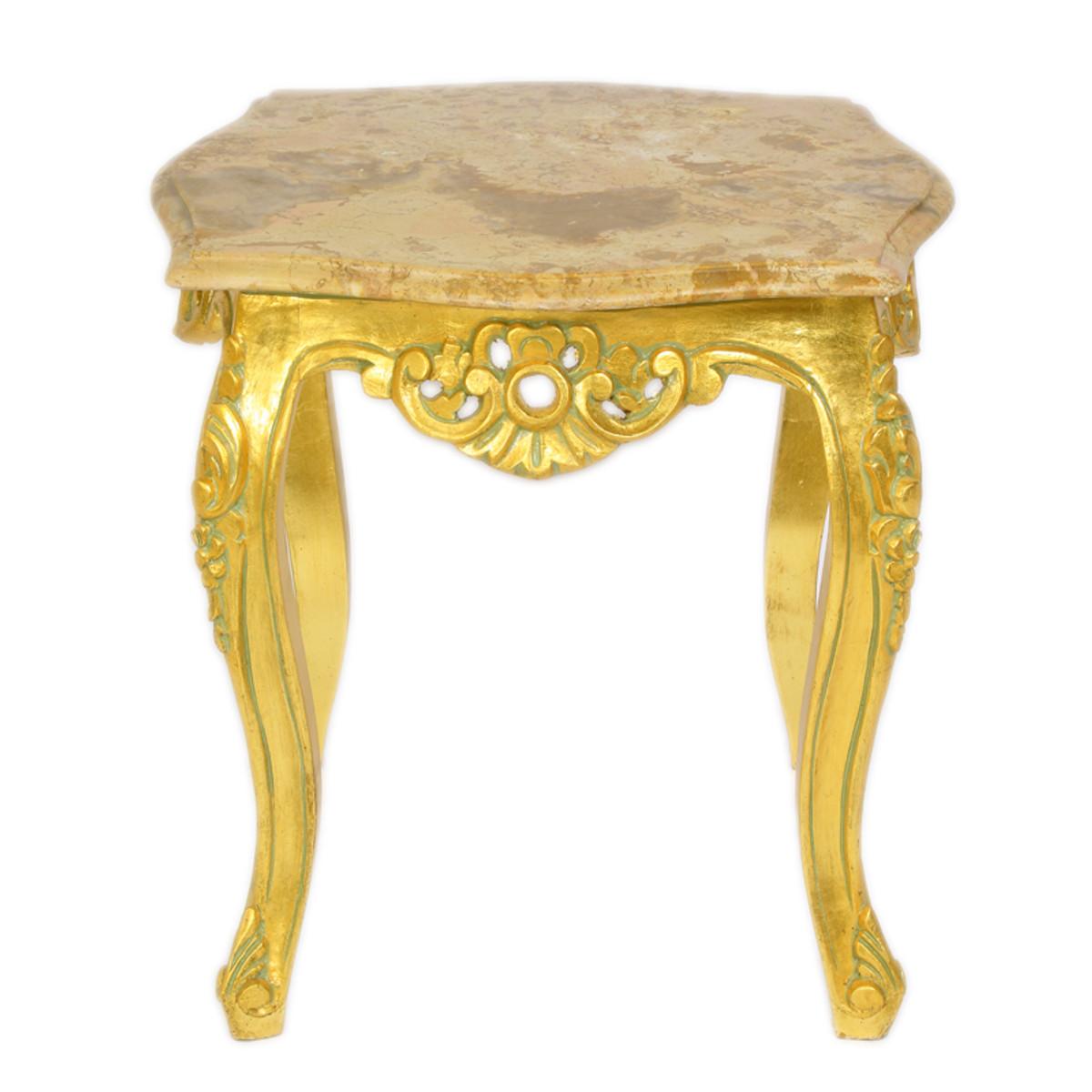 casa padrino barock beistelltisch gold mit cremefarbener. Black Bedroom Furniture Sets. Home Design Ideas