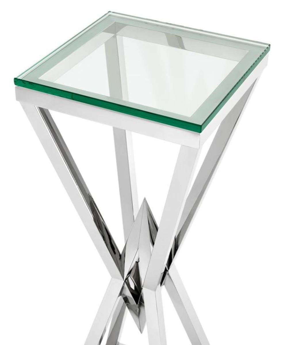 Casa Padrino Luxus Beistelltisch / Säule Edelstahl Silber 35 x 35 x H. 101 cm - Designer Tisch Möbel 2