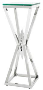 Casa Padrino Luxus Beistelltisch / Säule Edelstahl Silber 35 x 35 x H. 101 cm - Designer Tisch Möbel