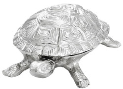 Casa Padrino luxury casket with lid turtle brass nickel plated 19,5 x 10,5 x H. 6,5 cm - luxury decoration