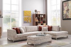 Casa Padrino Designer living room set - corner sofa with seat stool - cream / chrome hotel furniture