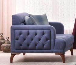 Casa Padrino Designer Bergere Sessel Venice Blau / Holzfarbig - Hotel Sofa