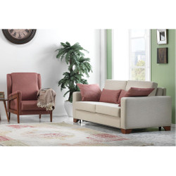 Casa Padrino Designer 3 seater sofa bed with folding bed Florence Creme - Hotel furniture