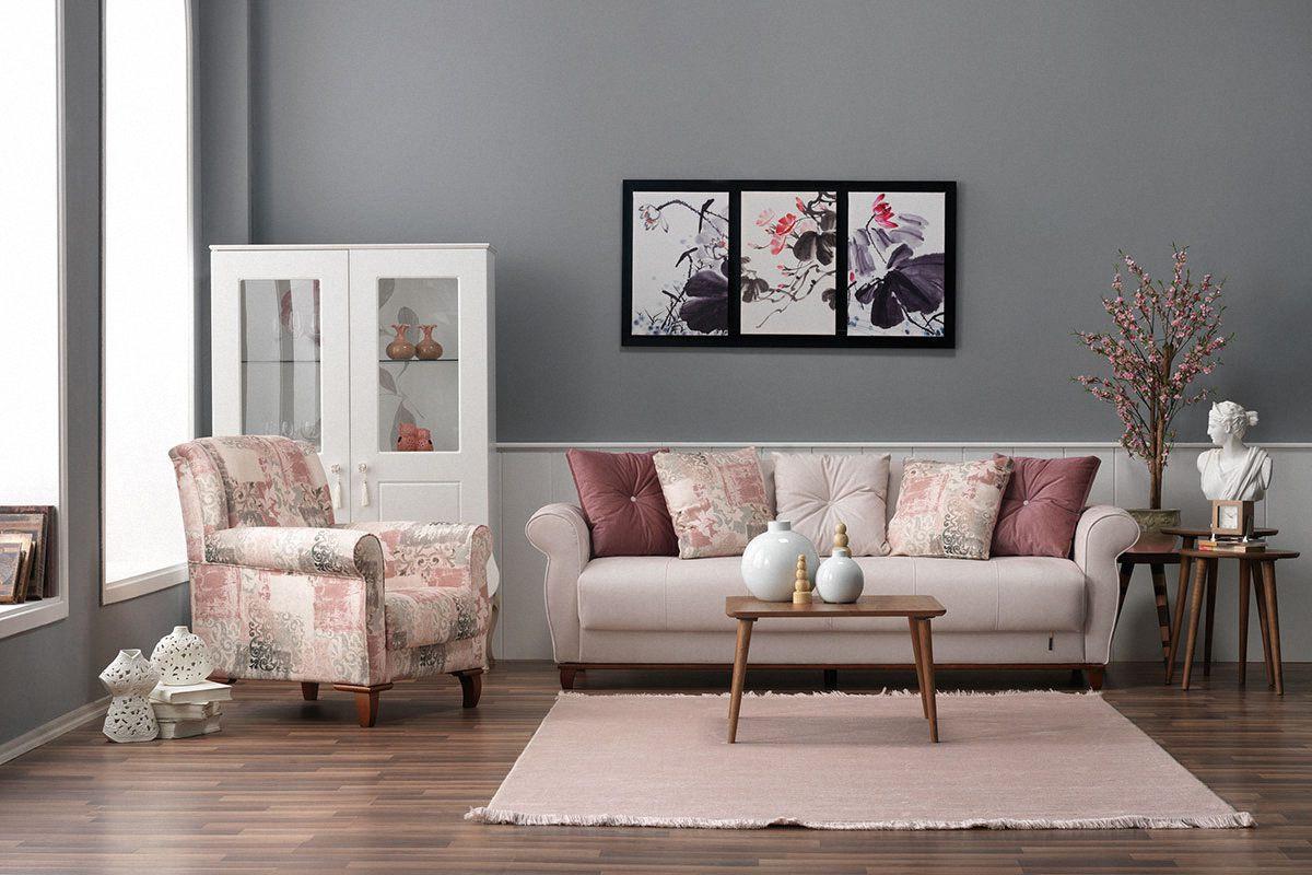 Casa Padrino Designer Bergere Sessel Stuttgart Weiß/Rose Muster ...
