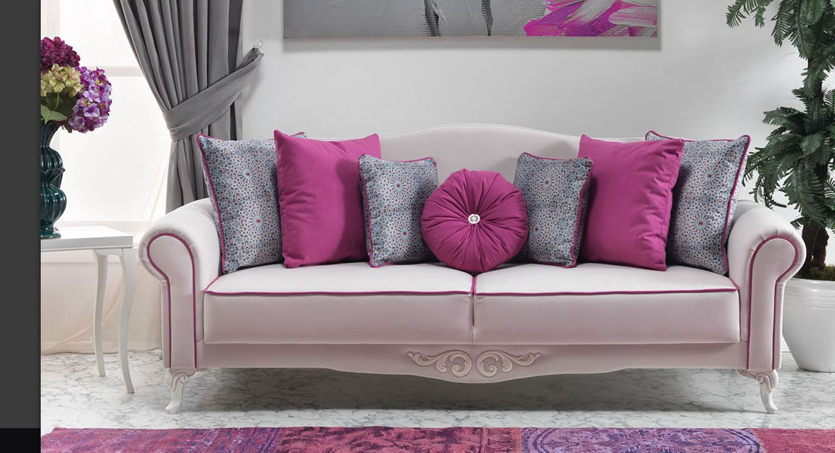 casa padrino neo barock 3er sofa milano wei pink hotel m bel luxury collection sofa sets. Black Bedroom Furniture Sets. Home Design Ideas