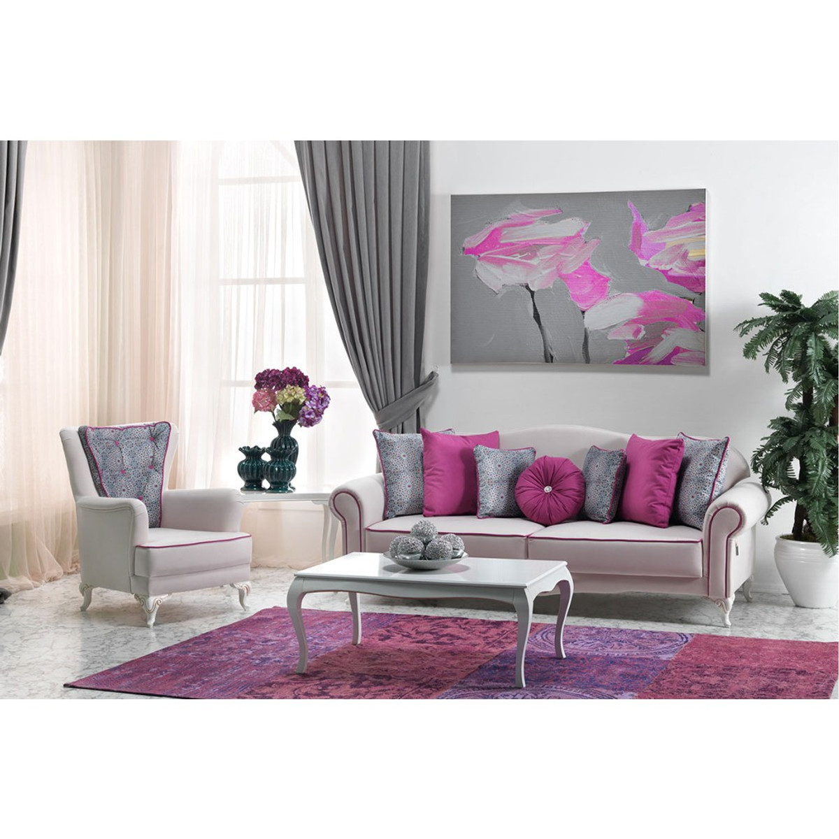 casa padrino neo barock bergere sessel milano wei pink hotel m bel sofa sets. Black Bedroom Furniture Sets. Home Design Ideas
