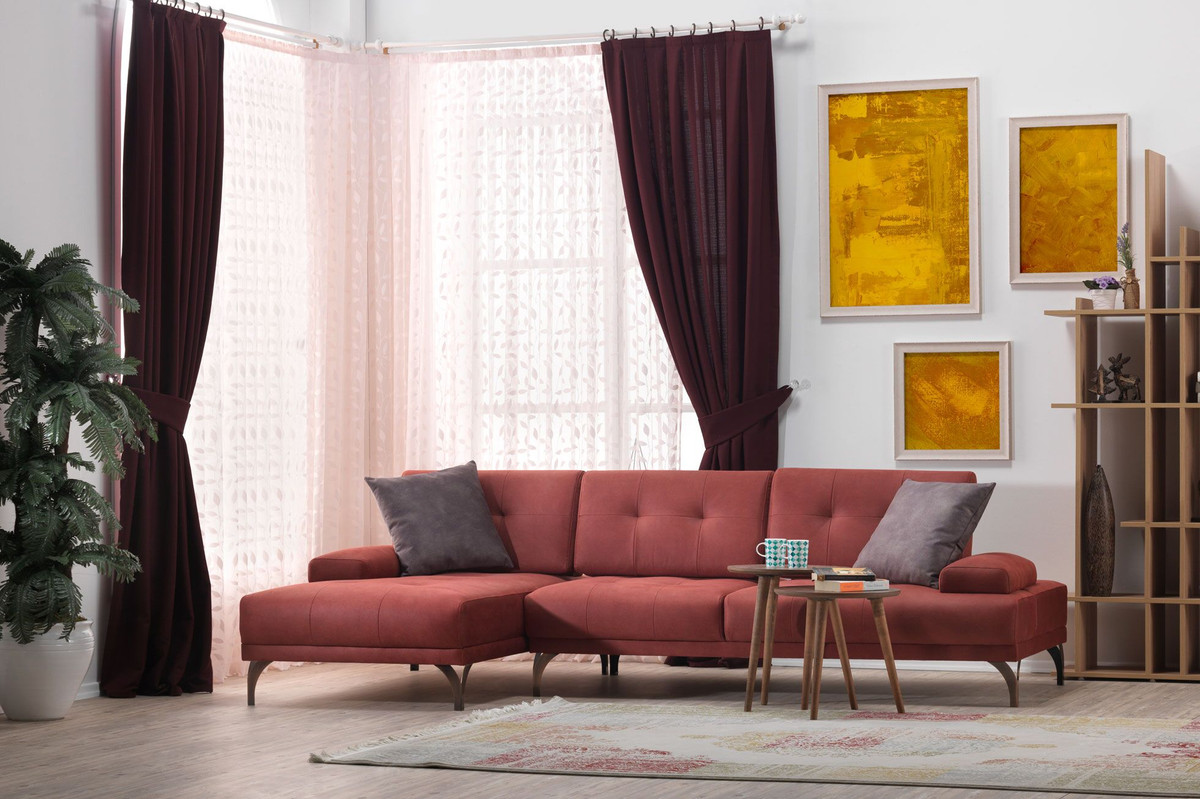 casa padrino designer wohnzimmer set ecksofa ocker rot. Black Bedroom Furniture Sets. Home Design Ideas