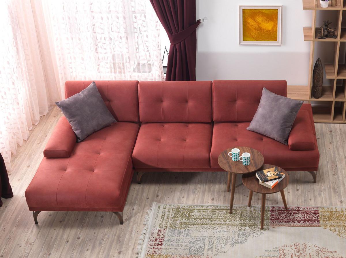Casa Padrino Designer Wohnzimmer Set - Ecksofa - Ocker-Rot Hotel ...