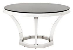 Casa Padrino luxury stainless steel dining table with black glass 130 x H. 75 cm - designer table