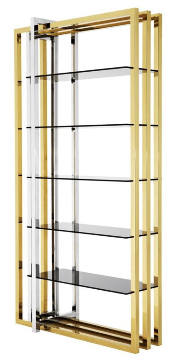 Casa Padrino Designer Stainless Steel Shelf Cabinet With Smoked