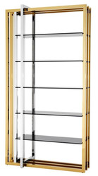 Casa Padrino designer stainless steel shelf cabinet with smoked glass 120 x 46 x H. 230 cm - luxury hotel furniture