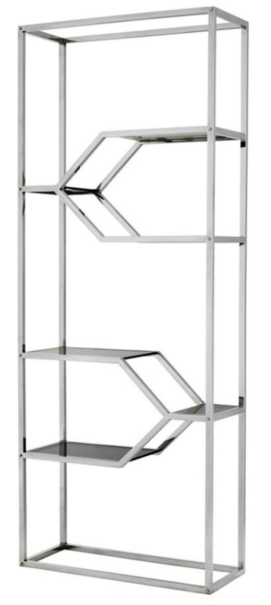 Casa Padrino Design Armoire Etagere En Acier Inoxydable Avec Verre Fume 90 X 38 X H 230 Cm Meubles De Luxe