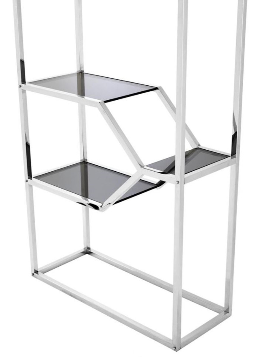 Casa Padrino Designer Stainless Steel Shelf Cabinet With Smoke