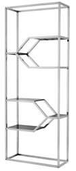 Casa Padrino designer stainless steel shelf cabinet with smoke glass 90 x 38 x H. 230 cm - luxury hotel furniture