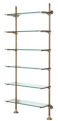 Casa Padrino designer wall shelf antique brass 100 x 41 x H. 240 cm - luxury living room furniture