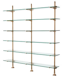 Casa Padrino designer double wall shelf antique brass 220 x 41 x H. 240 cm - luxury living room furniture