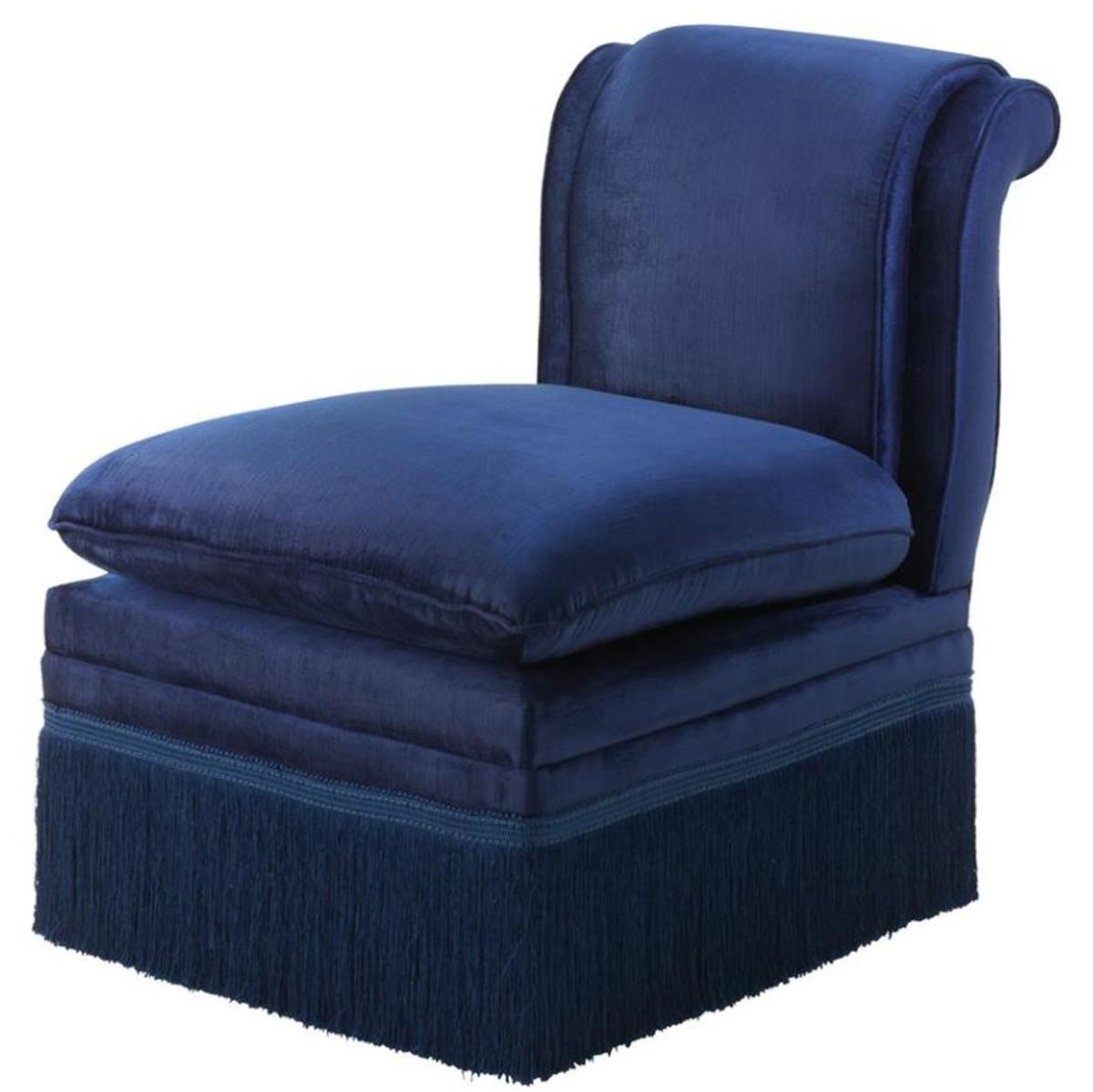 Casa Padrino Luxus Designer Sessel Blau 55 x 74 x H 74 cm