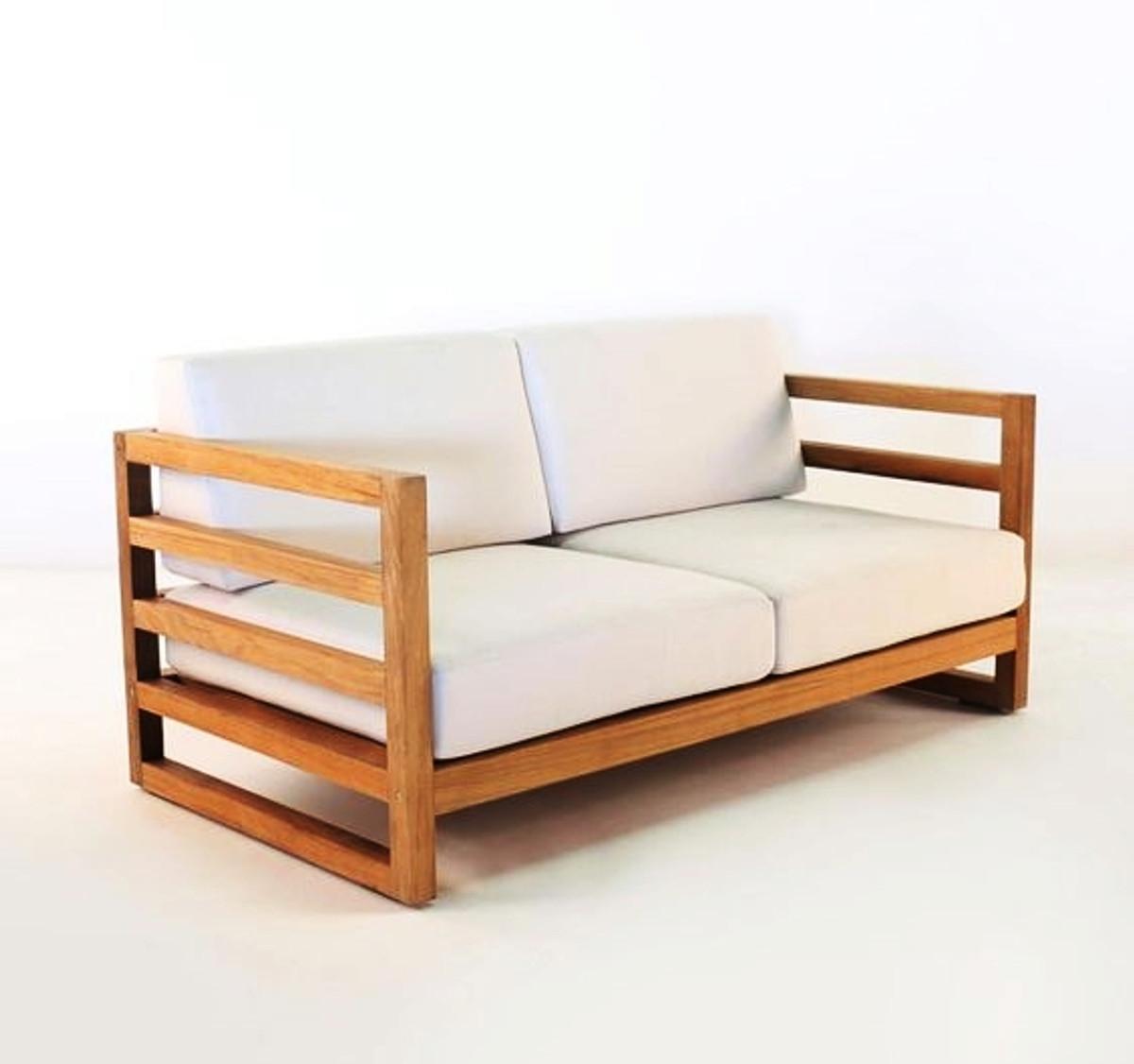 casa padrino garten 2 er sofa rustikal miami weiss creme braun 140 x 40 x h70 cm eiche. Black Bedroom Furniture Sets. Home Design Ideas
