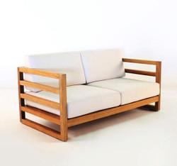 "Casa Padrino Garden 2-seater sofa ""Miami"" Rustic white-cream / brown 140 x 40 x H70 cm - solid oak - real wood furniture solid"