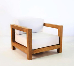 "Casa Padrino Garden Chair ""Boston"" Rustic White Cream / Brown 80 x 40 x H70 cm - Oak Solid Wood - Solid Wood Furniture Solid"
