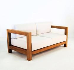 "Casa Padrino Garden 2-seater sofa ""Boston"" Rustic white-cream / brown 140 x 40 x H70 cm - solid oak - real wood furniture solid"