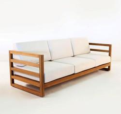 "Casa Padrino Garden 3-seater sofa ""Miami"" Rustic white-cream / brown 200 x 40 x H70 cm - solid oak - real wood furniture solid"