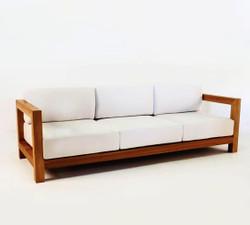 "Casa Padrino Garten 3-er Sofa Rustikal ""Boston"" Weiss-Creme/Braun 200 x 40 x H70 cm - Echtholz Möbel Massiv"