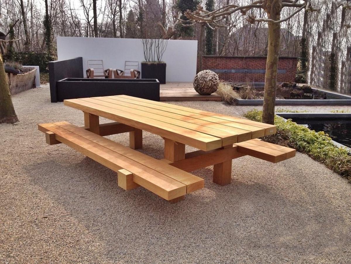 Casa Padrino Gartenmöbel Set Rustikal Tisch 2 Garten Bänke 180 X