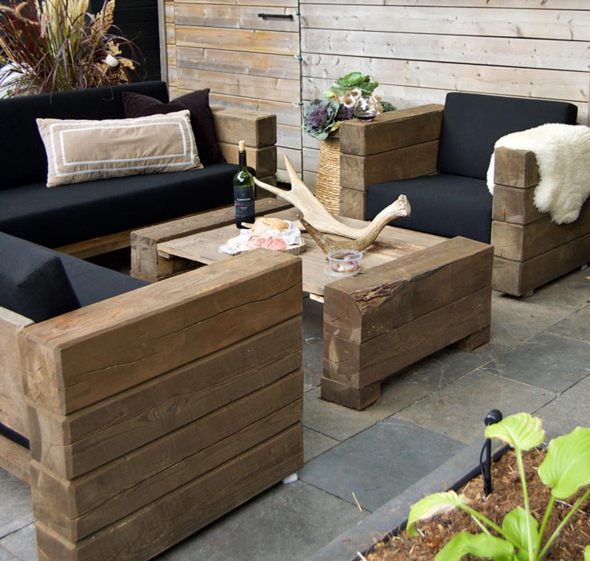 luxus garten m bel set eiche massiv mit polsterung eckcouch sessel tisch lounge set. Black Bedroom Furniture Sets. Home Design Ideas