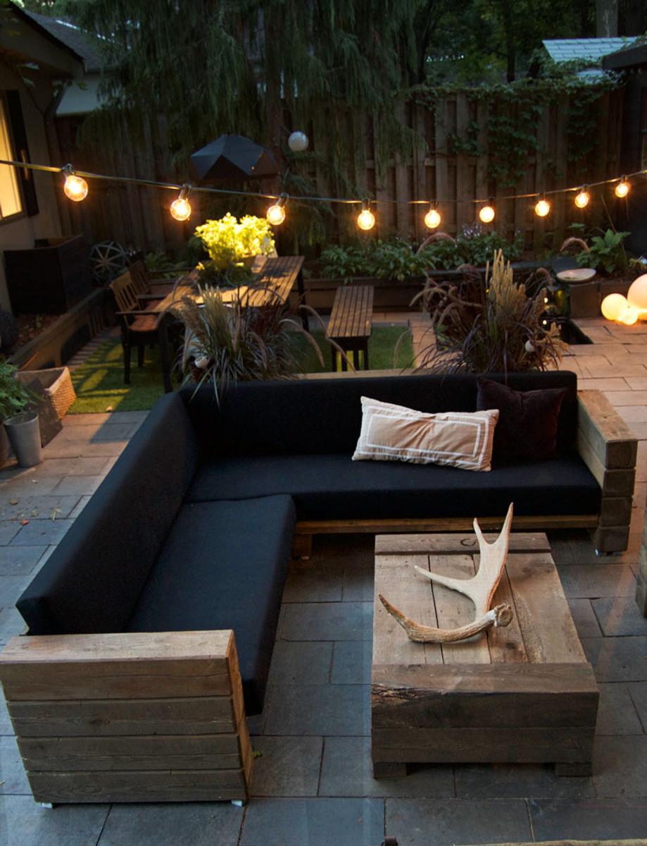 Luxus garten  Luxus Garten Möbel Set Eiche Massiv mit Polsterung - Eckcouch + ...